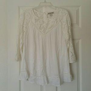 Vintage America Boho Lace Sleeve Blouse